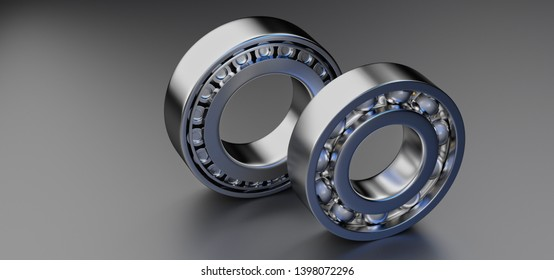 3D rendering. Automotive bearings auto spare parts. Ball bearing on a dark background. Wheel bearing for truck, heavy duty and car.
