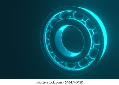 3D rendering. Automotive bearings auto spare parts. Ball bearing on a blue background. Wheel bearing for truck, heavy duty and car.