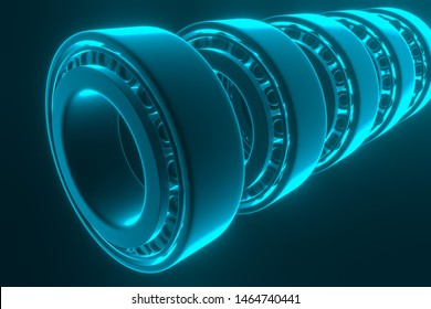 3D rendering. Automotive bearings auto spare parts. Tapered roller bearing isolated on a blue background. Wheel bearing for truck, heavy duty and car.