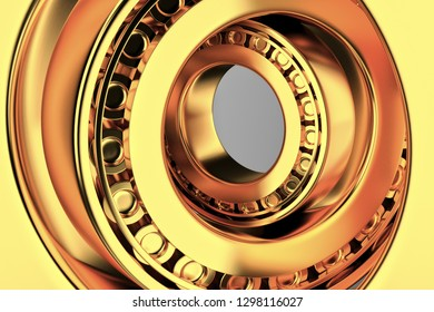 3D rendering. Automotive gold bearings auto spare parts. Tapered roller bearing isolated on a dark background. Wheel bearing for truck, heavy duty and car.