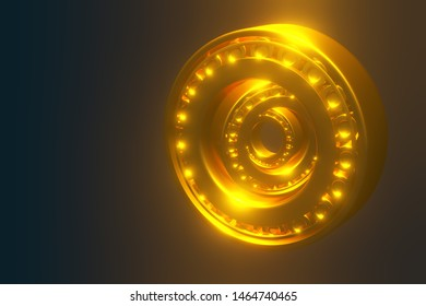 3D rendering. Automotive gold bearings auto spare parts. Tapered roller bearing isolated on a blue background. Wheel bearing for truck, heavy duty and car.