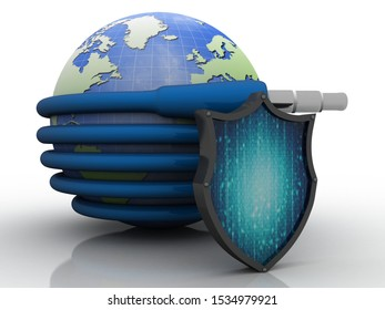 3d rendering aux cable connected globe protected shield