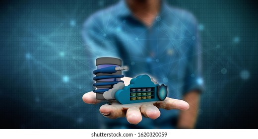 3d rendering aux cable with folder cloud shield