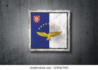 3d rendering of an Azores flag in a concrete wall