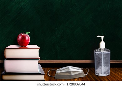 3D rendering of back to school concept during Covid-19 pandemic with classroom setting of hand sanitizer and face mask on table. Concept of new school measures to contain coronavirus outbreak.
