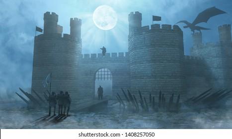 3d rendering background dark light castle dragon knight foggy gothic historical horror moonlight night old scary war