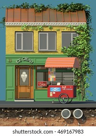 3d rendering of background with ice cream truck and restaurant. 3d cartoon style cute European building. Detailed facade with showcase and ivy on wall. Street cafes.