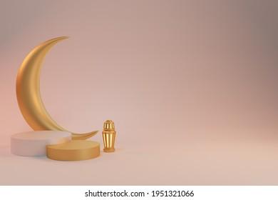 3d rendering background Ramadan Kareem with podium lantern and crescent moon
