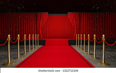 3d rendering of Background with a red curtain and a spotlight. Festival night show poster. Open red curtain. event premiere poster - Illustration