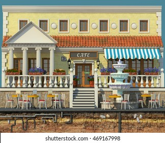 3d rendering of background with small cafe. 3d cartoon style cute European building. Detailed facade with columns and tile roof, decorated with flowers. Street cafes. Outdoor seating.
