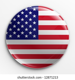 3d rendering of a badge with the American flag