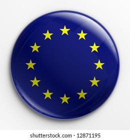 3d rendering of a badge with the  flag of Europe