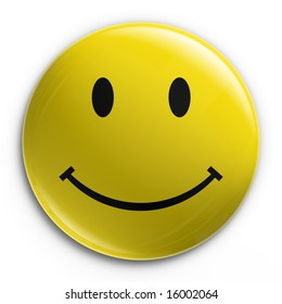 3d rendering of a badge with a happy smiley