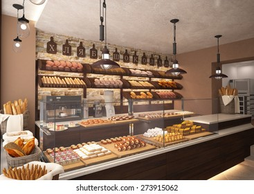 3d rendering of a bakery shop interior