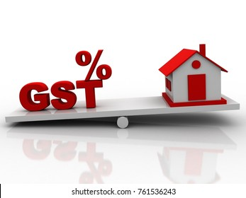 3d rendering balancing gst and house concept
