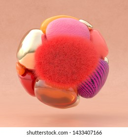 3D rendering of a ball out of abstract shapes with the color living coral