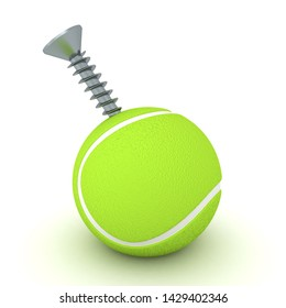 3D Rendering of ball pierced by a screw. 3D Rendering isolated on white.