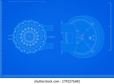 3d rendering bank vault blueprint with scale on blue background