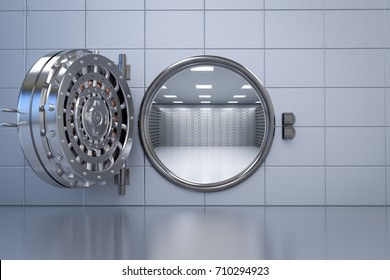 3d rendering bank vault opened with deposit boxes inside
