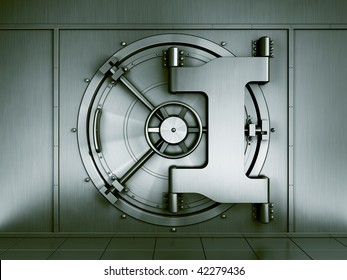 3d rendering of a bank vault seen straight on