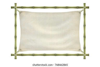 3D rendering of a banner template with frame of bamboo sticks swathed in rope with canvas.