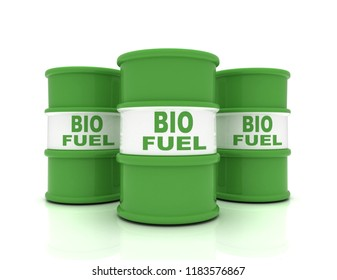 3D rendering barrels of biofuels. rendered illustration