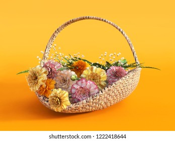3D rendering of a basket with carnations on an orange colored background.