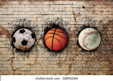3d rendering of basketball, baseball and soccer ball embedded in a brick wall