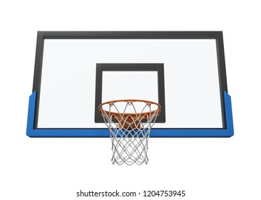 3d rendering of a basketball hoop with an empty basket and transparent backboard. Basketball equipment. Street sport. Exercise and games.