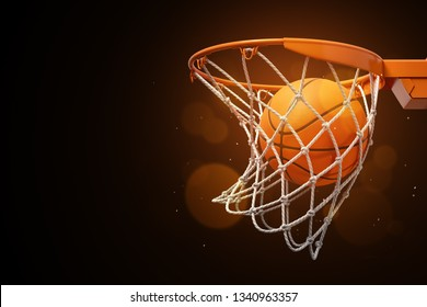 3d rendering of a basketball in the net on a dark background. Win game. Be success. Teamwork is key to triumph.