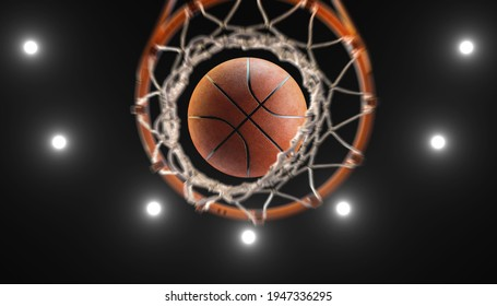 3d rendering  basketball on hoop and lighting from roof stadium