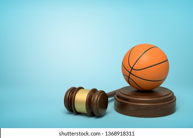 3d rendering of basketball on sounding block with judge gavel lying beside on light-blue background. Fair basketball game. Law for sport. Abide by rules.