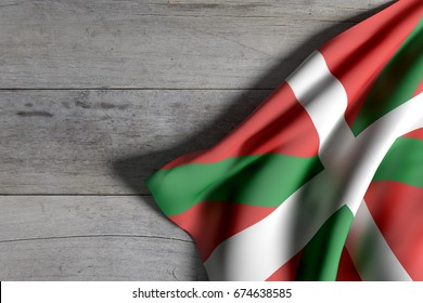 3d rendering of a Basque Country flag on wooden surface