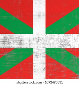 3d rendering of Basque Country spanish community flag in a scratched surface
