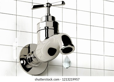 3D rendering of bath faucet with a water drop
