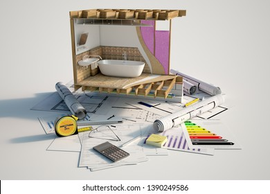 3D rendering of a bathroom under construction on top of blueprints, mortgage forms and a energy efficiency chart