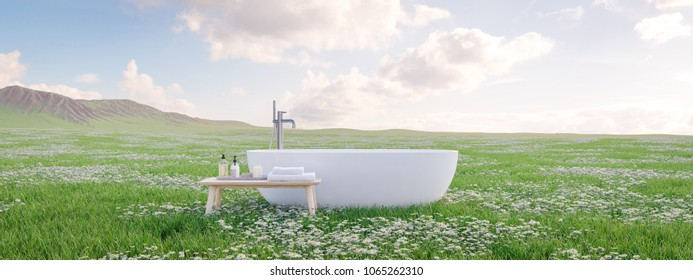 3D rendering. bathtube standing on beautiful meadow.