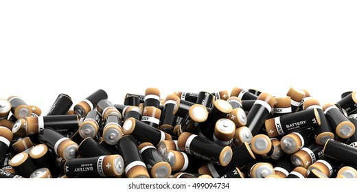 3d rendering batteries background with copy space