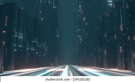 3D Rendering of beam lights in hyper loop pathway running through center of buildings' in mega city at night. Concept of next generation technology, fin tech, big data,  network, machine learning