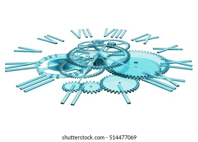 3D Rendering of bear clock made out of blue glass representing the concept of time.