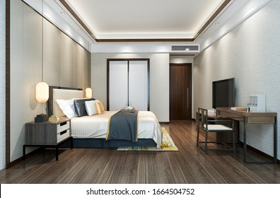 3d rendering beautiful classic luxury bedroom suite in hotel with tv and working table near bathroom