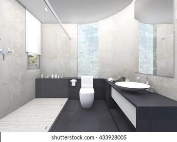 3d rendering beautiful design restroom with glass block