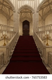 3D rendering of a beautiful fairy tale palace, stairs, candles and door
