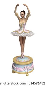 3D rendering of a beautiful female ballet dancer on a vintage music box isolated on white background