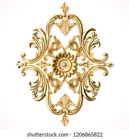 3d rendering beautiful golden relief isolated on white.luxury carving decoration of architecture. classic interior detail made of gold.