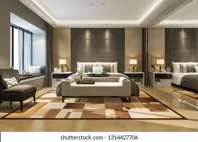 3d rendering beautiful luxury bedroom suite in hotel with mirror wardrobe