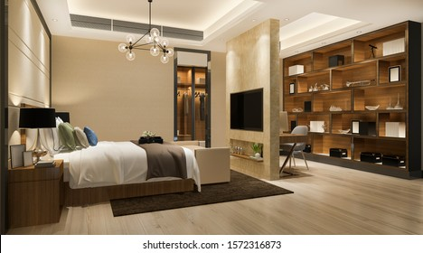 3d rendering beautiful luxury bedroom suite in hotel with tv and working table and wardrobe