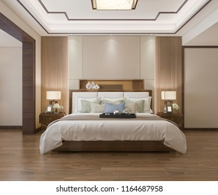 3d rendering beautiful luxury chinese bedroom suite in hotel with tv