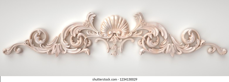 3d rendering beautiful marble relief isolated on white. luxury carving decoration of architecture. classic interior detail made of marble. Upholstery