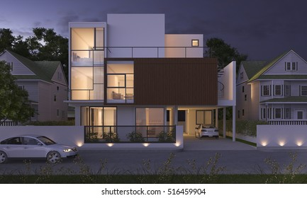 3d rendering beautiful modern design wood house near park and nature at night